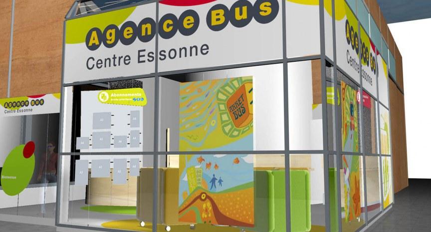 Simulation Vitrine de l'Agence Bus Centre Essonne